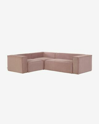 Sofá rinconero Blok 4 plazas pana rosa 320 x 230 cm