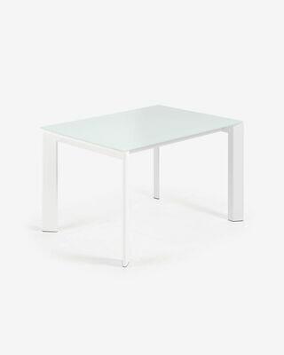 Mesa extensible Axis 120 (180) cm cristal blanco patas blanco
