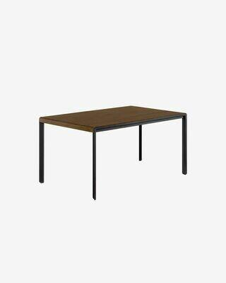 Mesa extensible Nadyria 120 (160) x 80 cm chapa de nogal patas de acero acabado negro