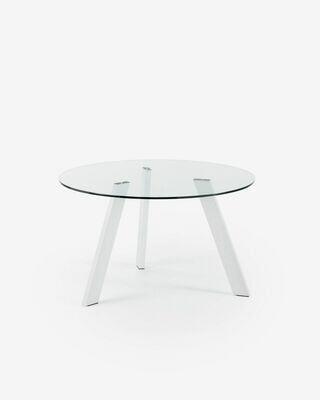 Mesa Carib Ø 130 cm cristal patas de acero acabado blanco