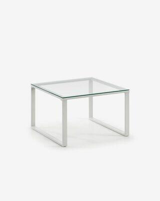 Mesa de centro Sivan cristal y estructura de acero acabado blanco 60 x 60 cm