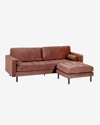Sofá Debra 3 plazas con reposapiés terciopelo rosa 222 cm