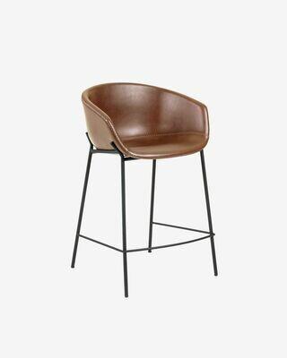 Taburete Yvette piel sintética marrón y acero con acabado negro altura 65 cm