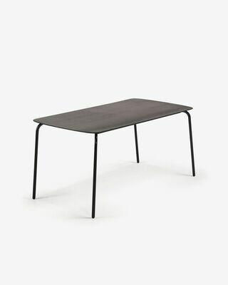 Mesa Thyra 160 x 80 cm cemento patas de acero acabado negro