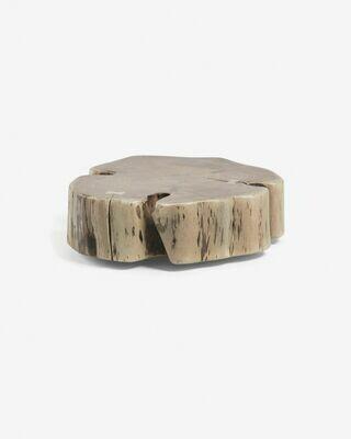 Mesa auxiliar con ruedas Essi madera maciza de acacia Ø 65 x 60 cm