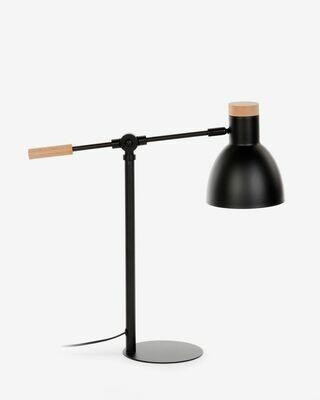 Lámpara de sobremesa Tescarle de madera de haya y acero con acabado negro
