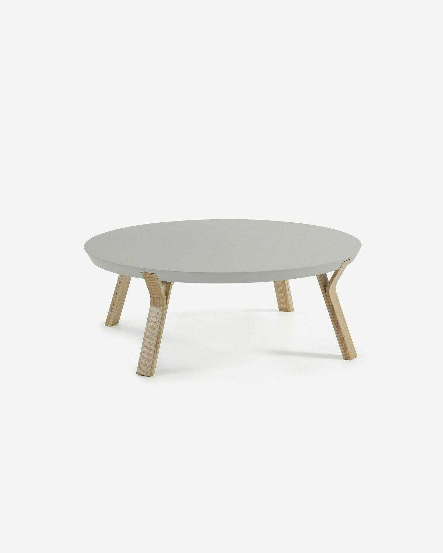 Mesa de centro Dilos madera maciza de fresno y lacado gris Ø 90 cm
