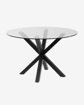 Mesa Full Argo Ø 119 cm cristal patas de acero acabado negro