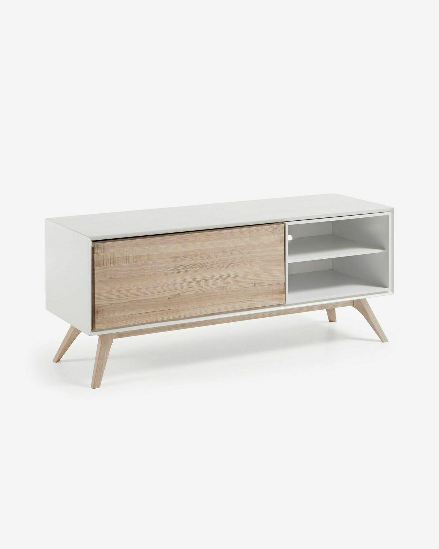Mueble TV Eunice 134 x 56 cm con chapa de fresno de 1 puerta