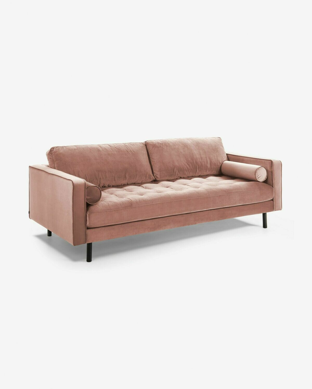 Sofá Debra 3 plazas terciopelo rosa 222 cm