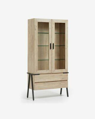 Vitrina Thinh 95 x 187 cm de madera maciza de acacia