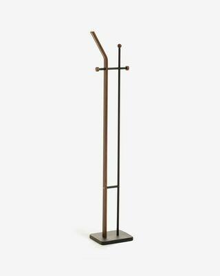 Perchero Magali acero negro y contrachapado de roble 172 cm