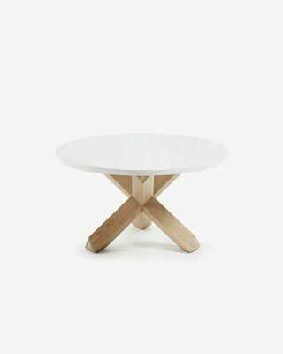 Mesa de centro Lotus Ø 65 cm melamina acabado blanco patas madera maciza de roble