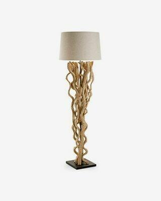 Lámpara de pie Nuba de madera de viña con pantalla blanca