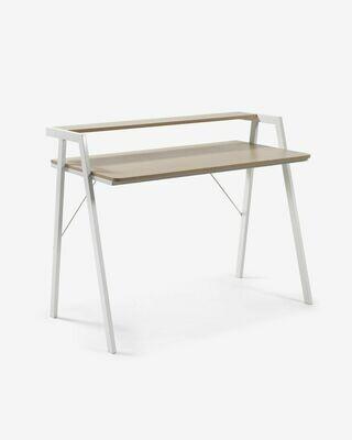Escritorio Aarhus melamina acabado natural patas de acero acabado blanco 115 x 60 cm