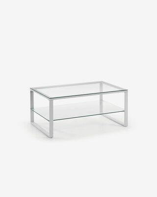 Mesa de centro Sivan cristal y estructura de acero acabado blanco 55 x 90 cm