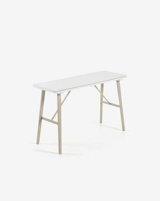 Consola mesa extensible Aruna 130 x 45 (90) cm PVC resistente patas de acero efecto madera