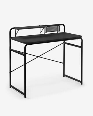 Escritorio Foreman melamina acabado negro patas de acero acabado negro 98 x 46 cm
