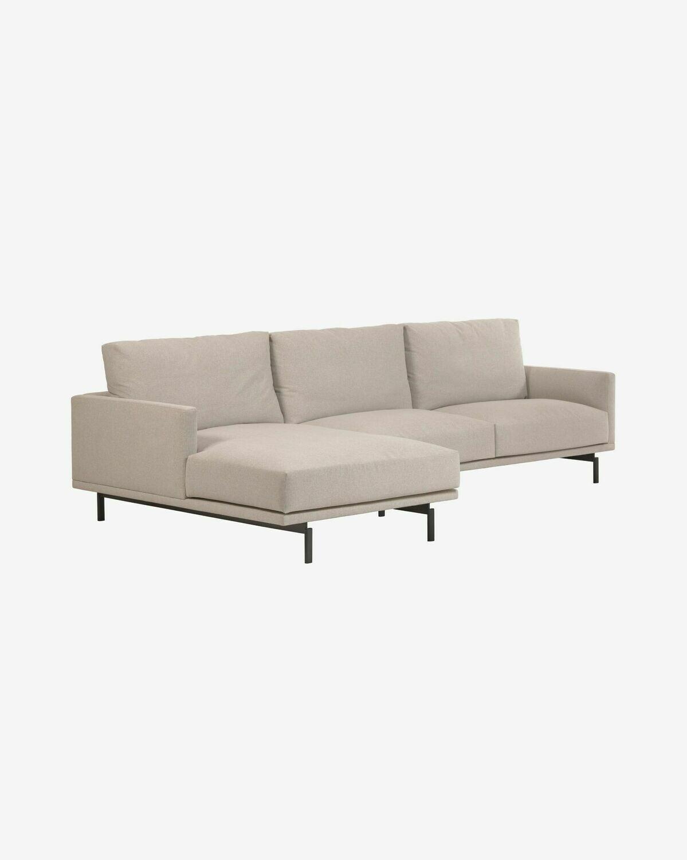 Sofá Galene de 4 plazas con chaise longue izquierdo beige 314 cm