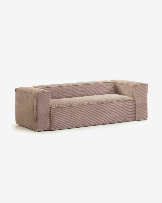 Sofá Blok 3 plazas pana rosa 240 cm