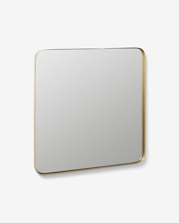 Espejo de pared Marco metal dorado 60 x 60 cm