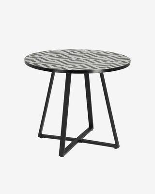 Mesa Tella Ø 90 cm cerámico blanco y negro patas acero acabado negro