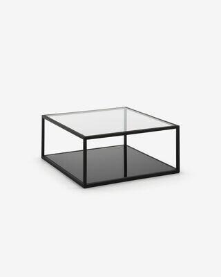 Mesa de centro Blackhill 80 x 80 cm cristal y acero acabado negro