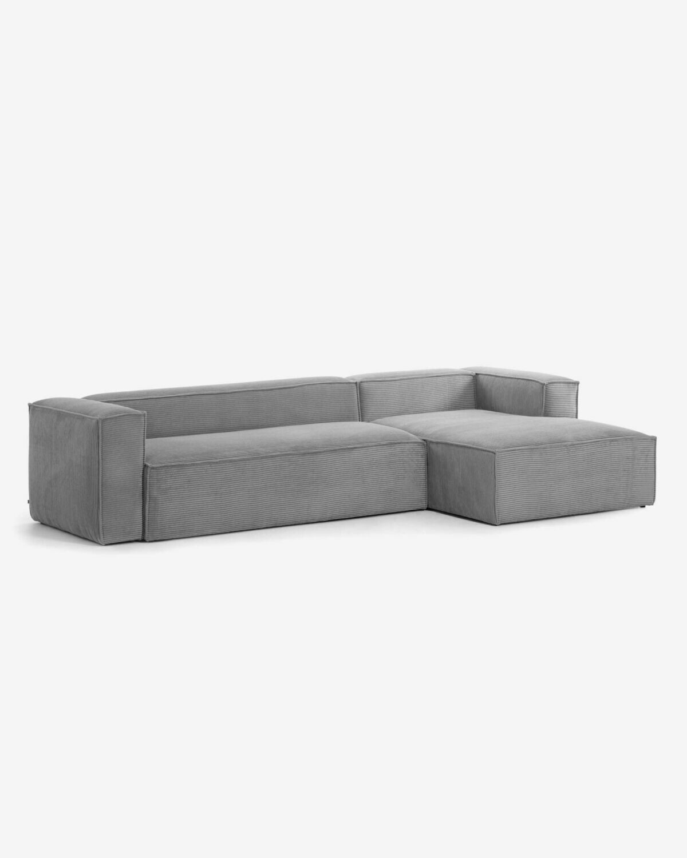 Sofá Blok 3 plazas chaise longue derecho pana gris 330 cm