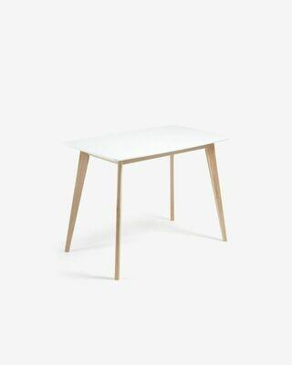 Mesa Anit 120 x 75 cm lacado blanco patas madera maciza de fresno