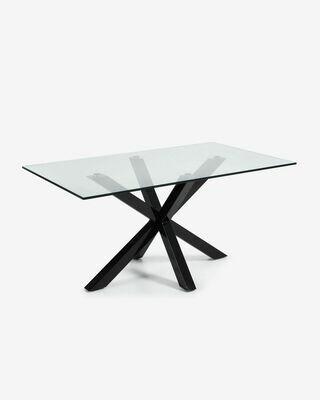 Mesa Argo 180 x 100 cm cristal patas de acero acabado negro