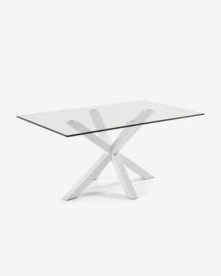Mesa Argo 180 x 100 cm cristal patas de acero acabado blanco