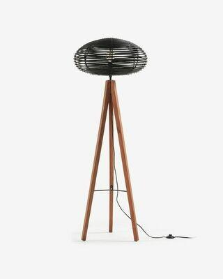 Lámpara de pie Layton de madera maciza de caoba y ratán