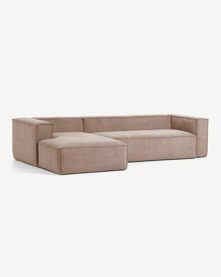 Sofá Blok 3 plazas chaise longue izquierdo pana rosa 330 cm