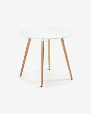 Mesa Wad Ø 100 cm cm lacado blanco patas de madera maciza de haya