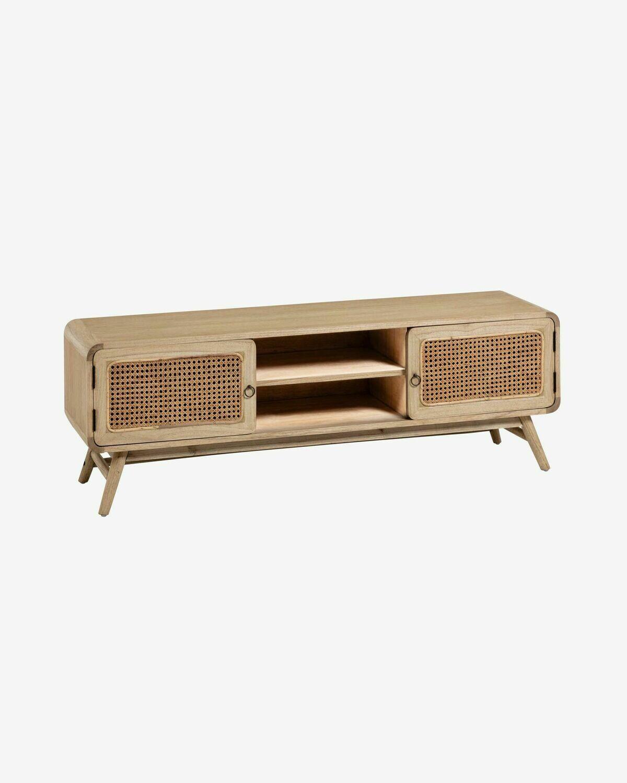 Mueble TV Nalu 150 x 50 cm de madera maciza de mindi y ratán