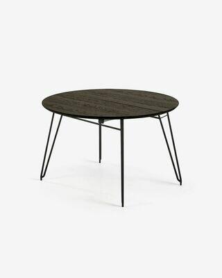 Mesa extensible Milian Ø 120 (200) cm chapa de fresno patas de acero acabado negro