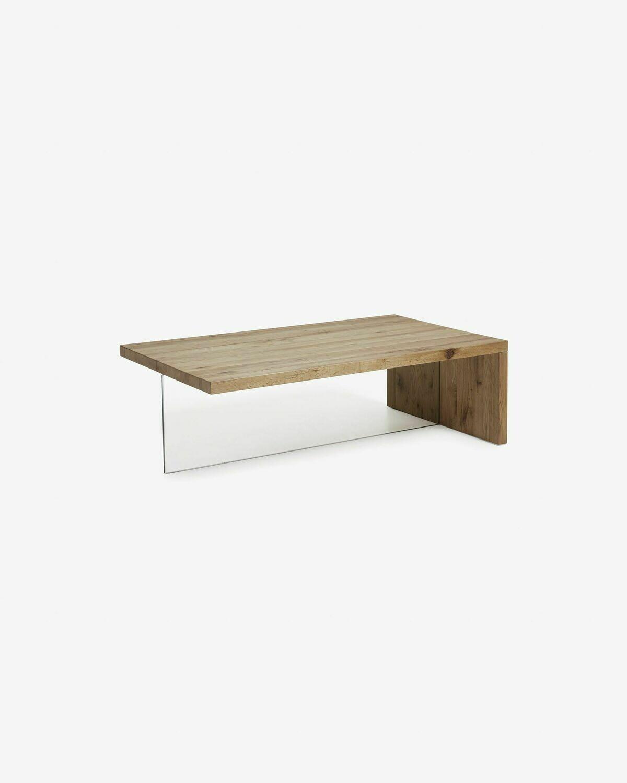 Mesa de centro Tulsi madera maciza de roble y cristal 120 x 70 cm