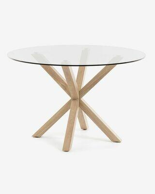 Mesa Full Argo Ø 119 cm cristal patas de acero efecto madera