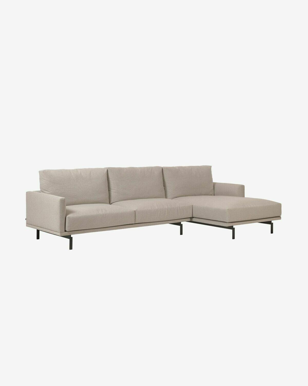 Sofá Galene de 4 plazas con chaise longue derecho beige 314 cm