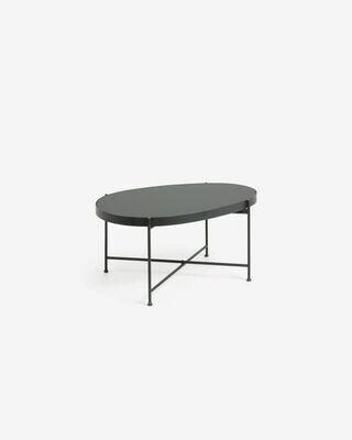 Mesa auxiliar Marlet cristal tintado negro y estructura de acero acabado negro 82 x 55 cm