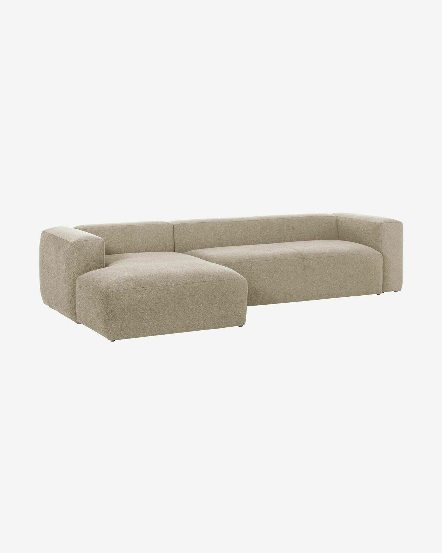 Sofá Blok 3 plazas chaise longue izquierdo beige 330 cm