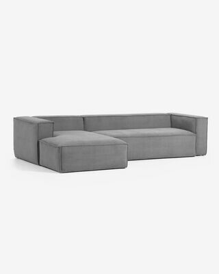 Sofá Blok 3 plazas chaise longue izquierdo pana gris 300 cm