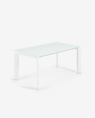 Mesa extensible Axis 160 (220) cm cristal blanco patas blanco