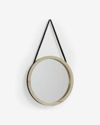 Espejo Grek de madera maciza de mango Ø 40 cm