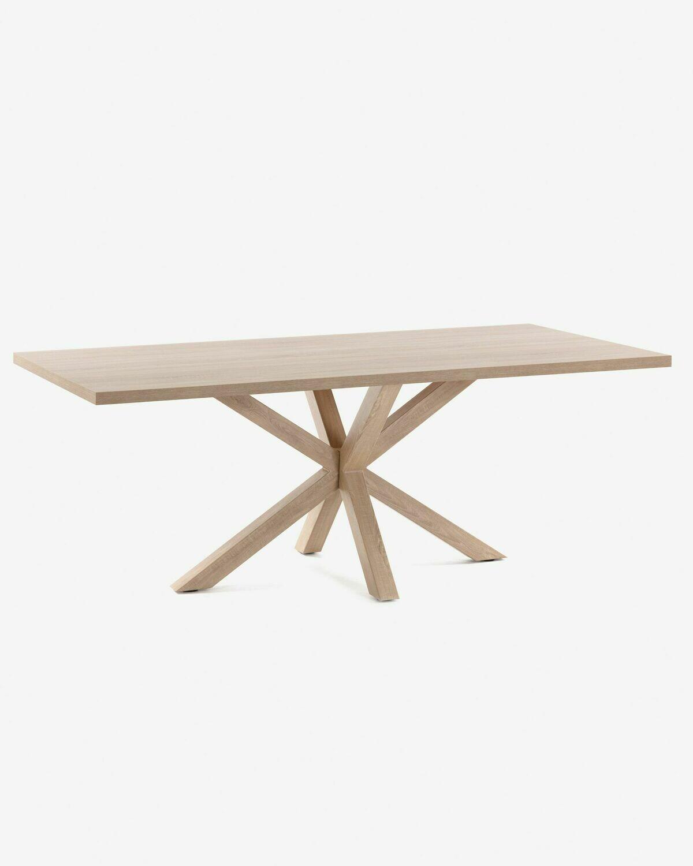 Mesa Argo 200 x 100 cm melamina acabado natural patas de acero efecto madera