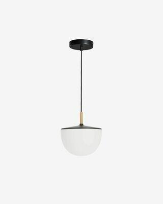 Lámpara de techo Neda de cristal con acero y madera de haya