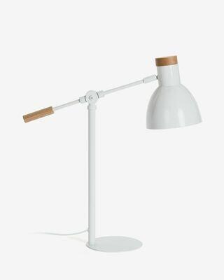 Lámpara de sobremesa Tescarle de madera de haya y acero con acabado blanco