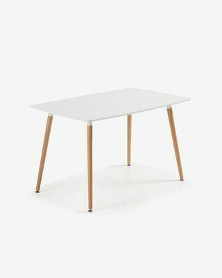 Mesa Wad 140 x 80 cm cm lacado blanco patas de madera maciza de haya