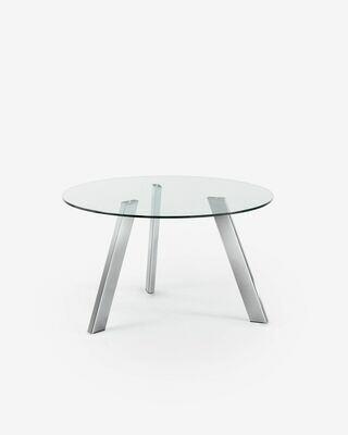 Mesa Carib Ø 130 cm cristal patas de acero acabado cromado