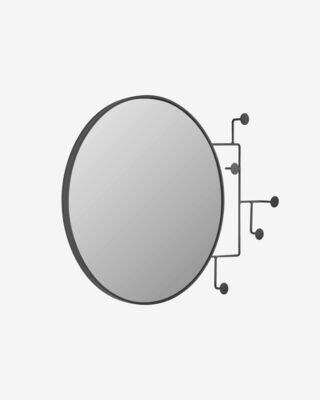 Espejo con colgadores Vianela de metal negro 70 x 51 cm